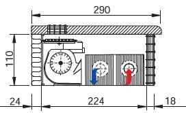поперечный разрез парапетного конвектора EVA KBP